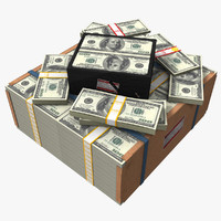 american money pack 3d model