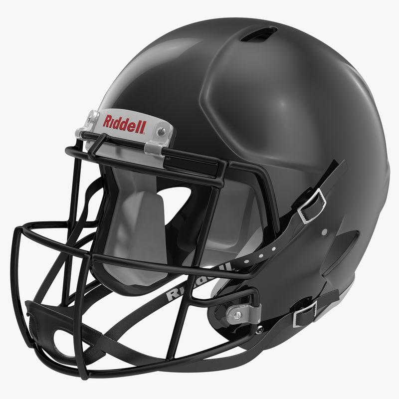 Football Helmet Riddell Black 3d model 00.jpg