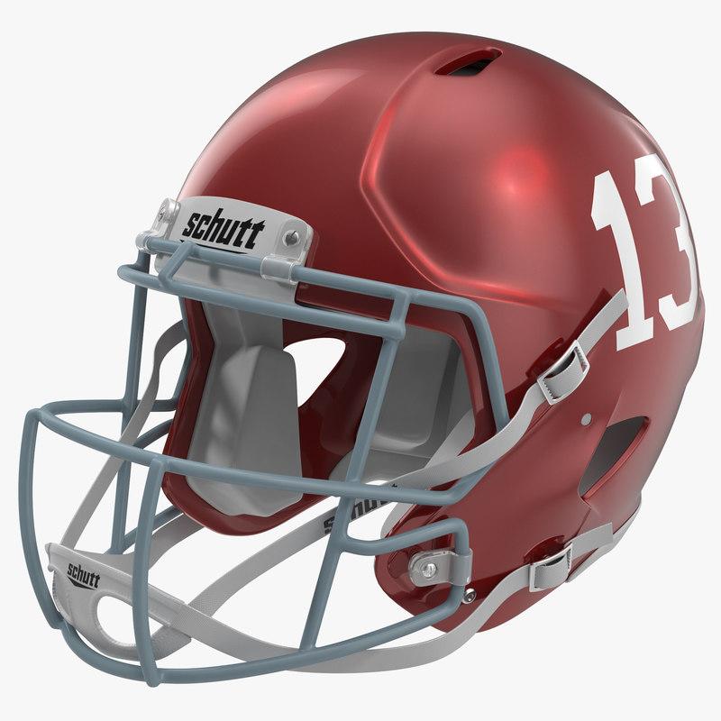 Football Helmet Schutt Red 3d model 00.jpg