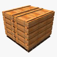 3d pallet wooden crates model
