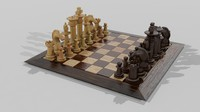 3d chess set wooden model