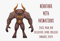 3d model minotaur animations