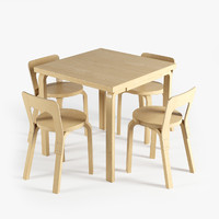 3d model of artek chair 65 table