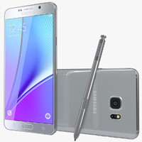 3d model realistic galaxy note5 silver