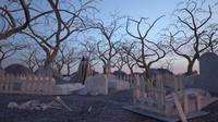 graveyard scene grim 3d max