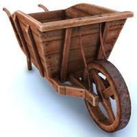 wood wheel barrow obj