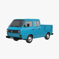 t3 pickup crew cab 3d model
