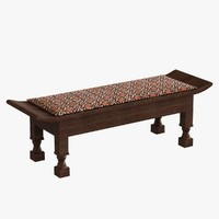 3d wood traditional bench