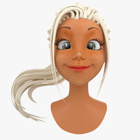 cartoon female head face 3d model