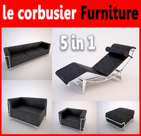 3d model le corbusier furniture pack