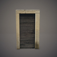3d model old wooden door