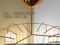 3ds chandelier silver gold