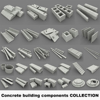 concrete building components 3ds
