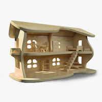 3d wood wooden house
