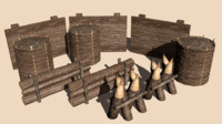 wooden barriers wall 3ds