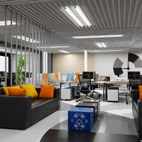 3d model open interior office