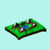 3d cartoon landscape toon
