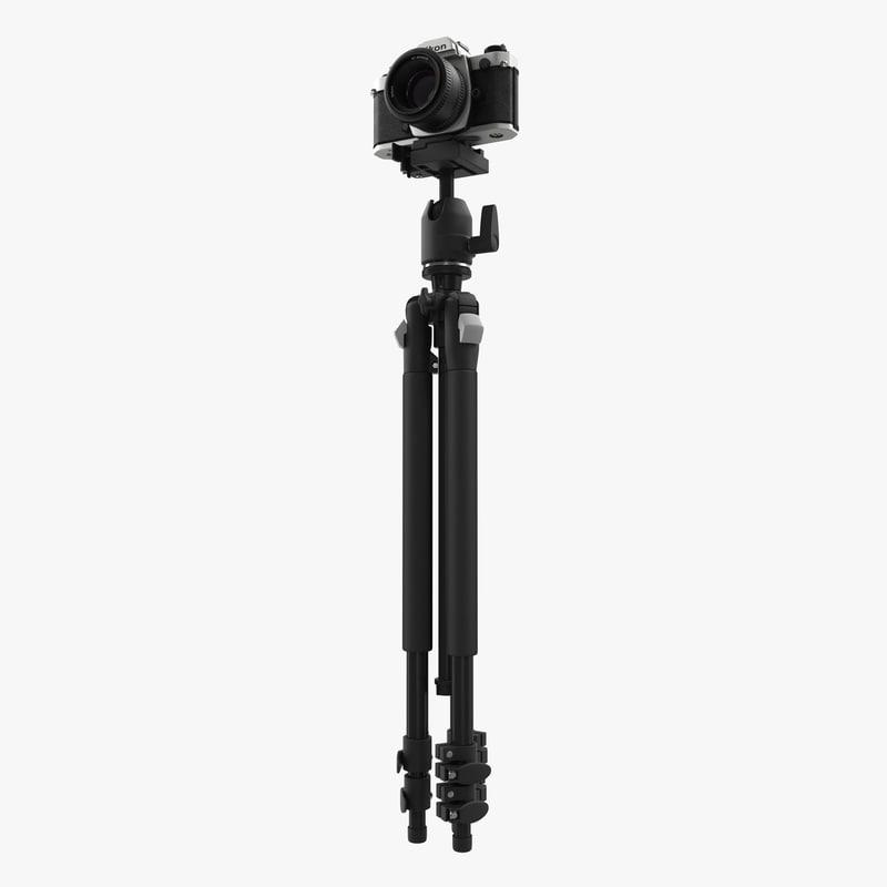 Digital Camera Canon EOS 5D with Tripod 3d model 00.jpg