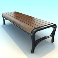 3d model metal park bench