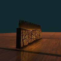 Room Divider with Lighted Tree Pattern - Wood, includes nice wood floor