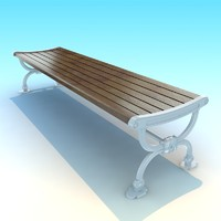 3dsmax metal wood classic park bench