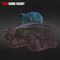 3d battle tank tiny pbr model