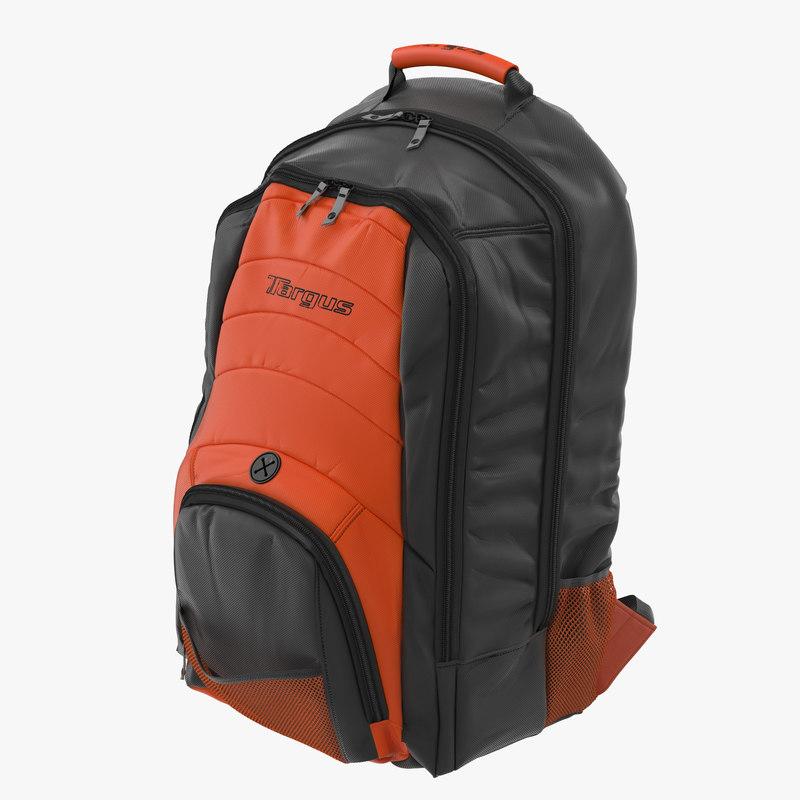 Backpack Black Orange 3d model 00.jpg