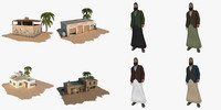 3d arab man pack building house model