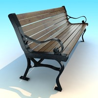 Classic wood metal park old Bench low poly vray