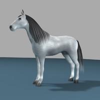 white horse 3d obj