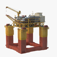 semi-submersible production rig 3d model