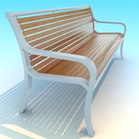 skinny wood white metal park Bench low poly vray