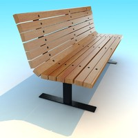 3d wood metal park bench model