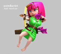 3d archer warrior clash model