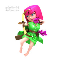 archer warrior clash 3d model