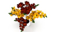 red-yellow flowers pot 3d max