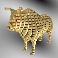 3d bull slicing model