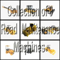 9 road maintenance machines 3d model