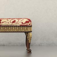 3d ottoman wood gold