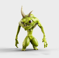 3d model green cartoon monster
