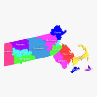 3d model massachusetts counties