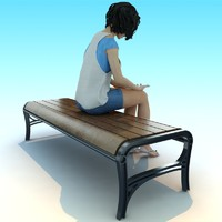 metal wood park bench 3d 3ds
