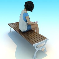 metal wood classic park bench 3d max