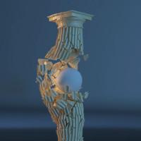 column hit explosion 3d model