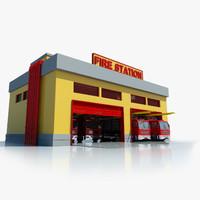 station building symbol 3d model
