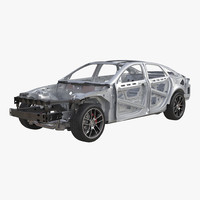 3d model sedan frame chassis 2