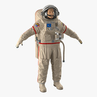3d model russian astronaut wearing space suit