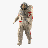 3d model chinese astronaut wearing space suit