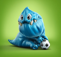 3dsmax blue cartoon monster