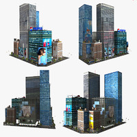 3d downtown city block skyscraper building